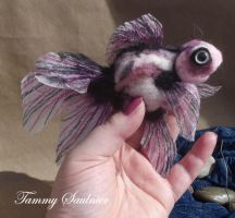 Needle felted Pastel Calico gold fish-for sale by Tammysoul