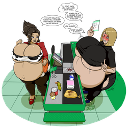 Cashier's gravid problem by BlooberBoy