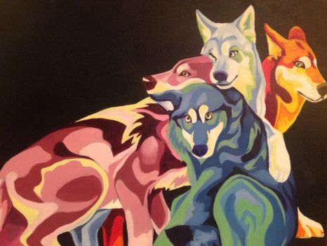 Technicolor Wolves by SteelFeathers