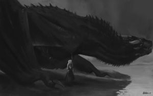 Game of thrones S7 E4 study 1 Drogon by noodlepredator