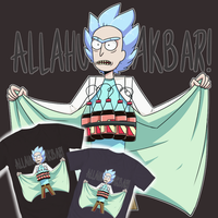 ON SALE Rick and Morty Allahu Akbar T-shirt by lRUSU