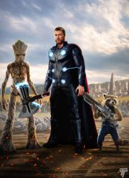 Thor Rocket and Groot by Timetravel6000v2