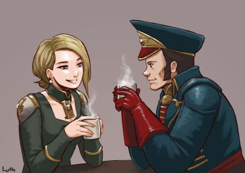 Inquisitor Vail and Commissar Cain tea date by Lutherniel