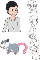 Boy and Possum by Kuribelle