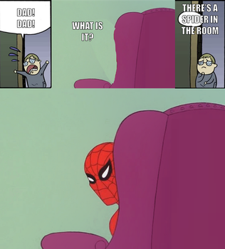 There's a spider in the room by onyxcarmine