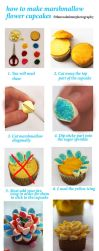 Tutorial For Marshmallow Flower Cupcakes by theresahelmer