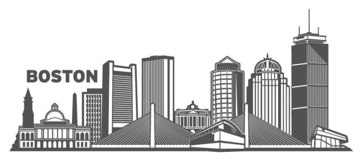 Boston Cityscape Vector Design by wall-decal-shop
