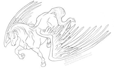 June pegasus LINEART by GalopaWXY