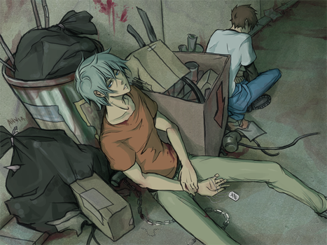 an alley filled with garbage by Ahvia
