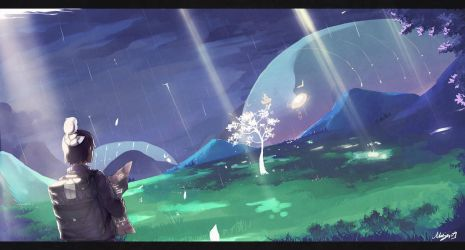 Rain on Blue Fields by Minyi