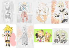 Kagamine Sketches 2 by grimay