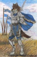 Wolf Anthro Ready for Battle by RussellTuller