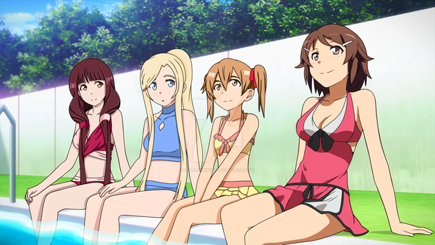 SAO/ALO girls at a pool~ by Blueskys33
