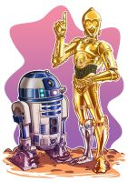 R2D2 and C3PO by andretapol