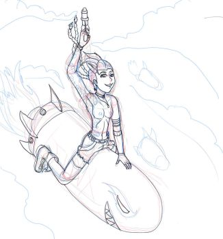 Pinup Jinx the loose cannon sketch by Nightblade69