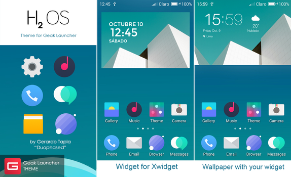 HydrogenOS Theme for Geak Launcher by Duophased