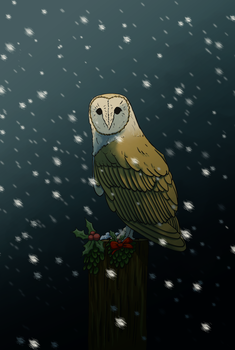 Christmas owl by NickRileyArt