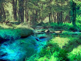 Spring wood river by Cyberalbi