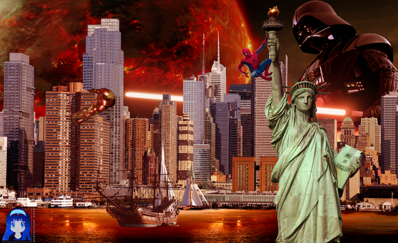 Spider-man and Statue of Liberty by Kit2000andAnna