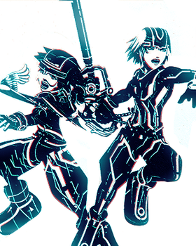 Sora and Riku like Tron' style by H-S93