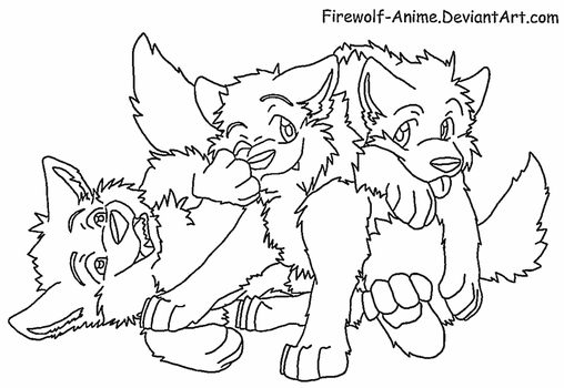 Three Wolf Pups Lineart by Firewolf-Anime