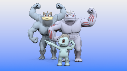 Untitled Machop family scene (2) by DecaTilde