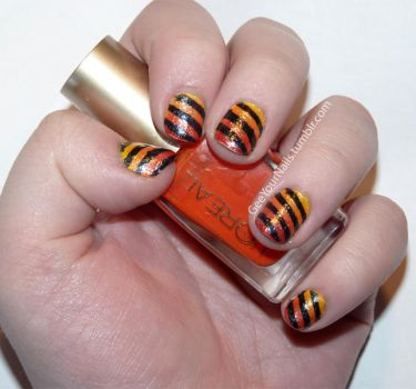 Misc. - fiery stripes nail art by ShiversTheNinja