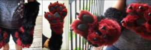 Commission - Black and Red Foo Dog Paws by TigeroftheWinds