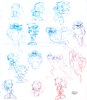 Sketch attack! Many Sonics n' Eggmans! by NkoGnZ