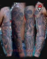 D.D. - skull sleeve by D-D-Tattoo