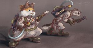 Homa and Suslik as Ghostbusters by Black-Striped-FoX