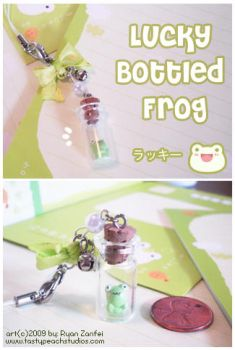 Lucky Bottled Frog Charm by MoogleGurl