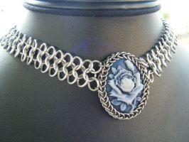 Blue rose choker by BacktoEarthCreations