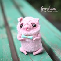 Pink pug art doll by Furrykami-creatures