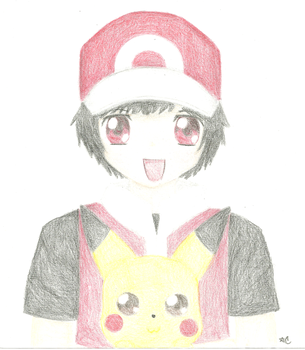Red and Pikachu by Crayon-Dust