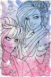 Galaxy Portrait Cressida and Sunniva by nickyflamingo