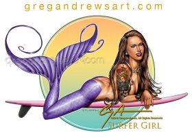 SURFER GIRL Mermaid Fantasy Art Greg Andrews Artis by HOT-FINS-MERMAIDS