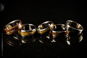 Wood Inlaid Titanium Rings by Adornments