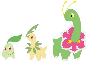 Chikorita, Bayleef and Meganium Base by SelenaEde