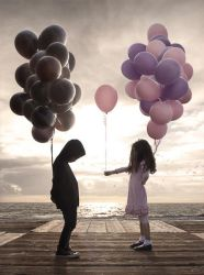 kids with balloons by everythingphoto