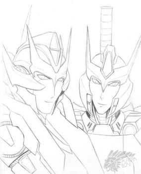 Rodimus and Drift Sketch by AuroraLion