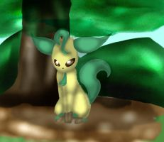Leafeon under the tree by Kalinel