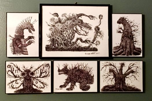 My Collection of Kaiju Tree Art by Kaiju Sketches by Legrandzilla