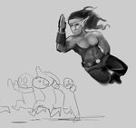 ass kicking elf monk by Germille