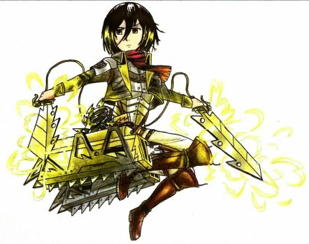 Mikasa with custom ODM gear (coloured) by artist-philmore