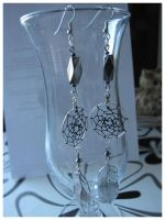Commission: Dreamcatcher earrings by SaQe