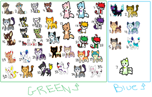 42 adoptables by TheClanKitty
