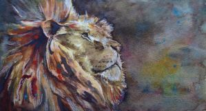 Water Colour Lion by fourquods