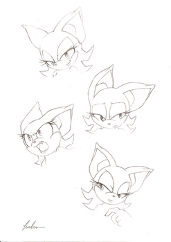 Rouge expressions +sketches+ by BlackDragon-kin