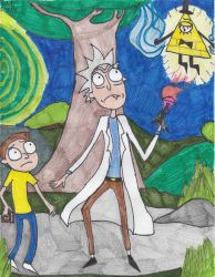 Rick and Morty VS Bill Cipher by Millie-the-Cat7